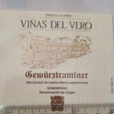 Etiquetas antiguas: ETIQUETA DE VINO - VIÑAS DE VERO - GEURÜR TRAMINER - SOMONTANO -. Lote 195002682