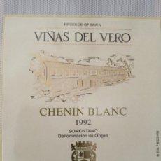 Etiquetas antiguas: ETIQUETA DE VINO - VIÑAS DE VERO - CHENIN BLANC 1992 - SOMONTANO -. Lote 195002893