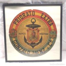 Etiquetas antiguas: ELCANO PRIORATO EXTRA GONZALO SAENZ BUENOS AIRES Y ESPAÑA. MED. 42 X 42 CM. Lote 195116931