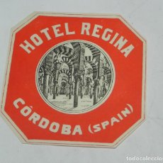 Etiquetas antiguas: ETIQUETA PARA MALETA HOTEL REGINA, CORDOBA, LUGGAGE LABEL, MIDE 10,5 X 10,5 CMS.. Lote 195172853
