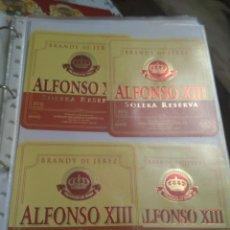Etiquetas antiguas: 4 ETIQUETAS DE BRANDY ALFONSO XIII. Lote 195242128