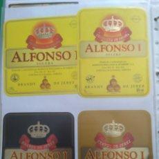 Etiquetas antiguas: 4 ETIQUETAS DE BRANDY ALFONSO I. Lote 195242273