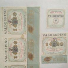 Etiquetas antiguas: 3 ETIQUETAS DE BRANDY VALDESPINO 1430. Lote 195242476