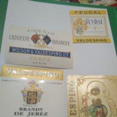 Etiquetas antiguas: 4 ETIQUETAS DE BRANDY VALDESPINO. Lote 195242577