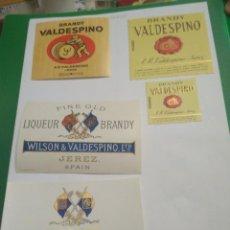 Etiquetas antiguas: 5 ETIQUETAS DE BRANDY VALDESPINO. Lote 195242658