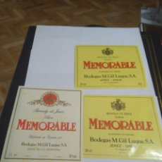 Etiquetas antiguas: 3 ETIQUETAS DE BRANDY MEMORABLE. Lote 195242791