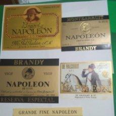 Etiquetas antiguas: 4 ETIQUETAS DE BRANDY NAPOLEÓN Y 1 DE COÑAC. Lote 195242966