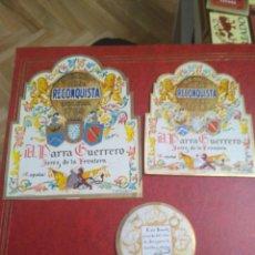 Etiquetas antiguas: 3 ETIQUETAS DE BRANDY PARRA GUERRERO. Lote 195243348