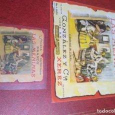 Etiquetas antiguas: 2 ETIQUETAS DE BRANDY LAS MENINAS. Lote 195243508