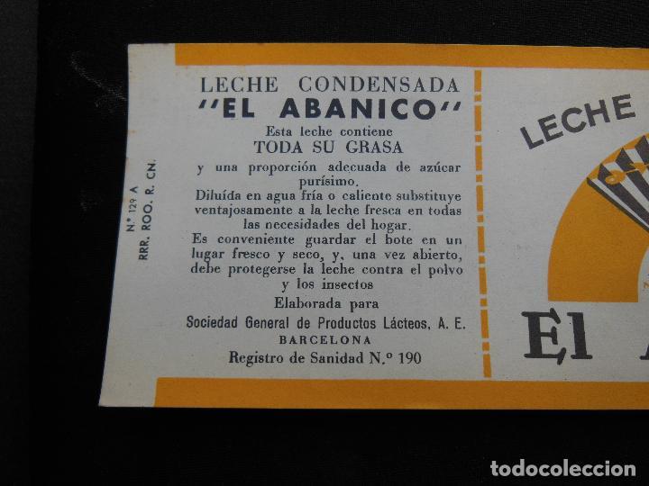 Etiquetas antiguas: Antigua Etiqueta en Plancha - Leche Condensada - El Abanico , años 40 . (Ver Fotos). - Foto 3 - 195309746