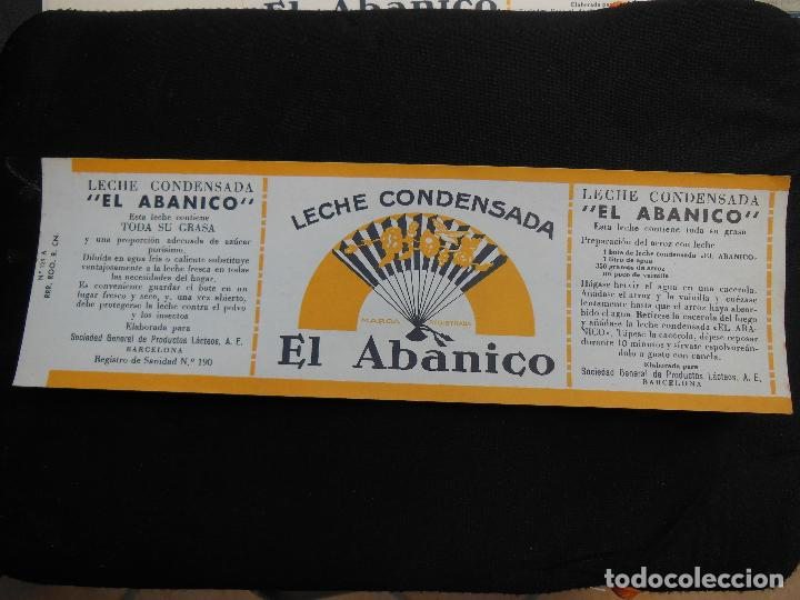 ANTIGUA ETIQUETA EN PLANCHA - LECHE CONDENSADA - EL ABANICO , AÑOS 40 . (VER FOTOS). (Coleccionismo - Etiquetas)