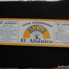 Etiquetas antiguas: ANTIGUA ETIQUETA EN PLANCHA - LECHE CONDENSADA - EL ABANICO , AÑOS 40 . (VER FOTOS).. Lote 195309746