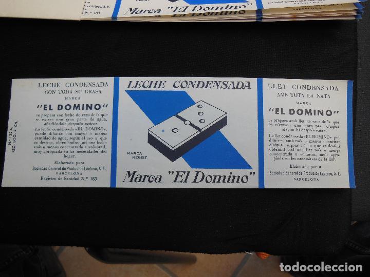 ANTIGUA ETIQUETA EN PLANCHA - LECHE CONDENSADA , EL DOMINO , AÑOS 40 - (VER FOTOS). (Coleccionismo - Etiquetas)
