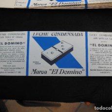 Etiquetas antiguas: ANTIGUA ETIQUETA EN PLANCHA - LECHE CONDENSADA , EL DOMINO , AÑOS 40 - (VER FOTOS).. Lote 195311065