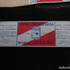 Etiquetas antiguas: ANTIGUA ETIQUETA EN PLANCHA - LECHE CONDENSADA - LA CIGÜEÑA AÑOS 40 - (VER FOTOS).. Lote 195311438