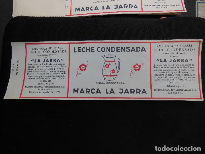 ANTIGUA ETIQUETA EN PLANCHA - LECHE CONDENSADA - LA JARRA , AÑOS 40 - (VER FOTOS). (Coleccionismo - Etiquetas)