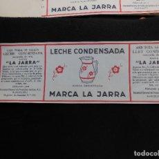 Etiquetas antiguas: ANTIGUA ETIQUETA EN PLANCHA - LECHE CONDENSADA - LA JARRA , AÑOS 40 - (VER FOTOS).. Lote 195311783