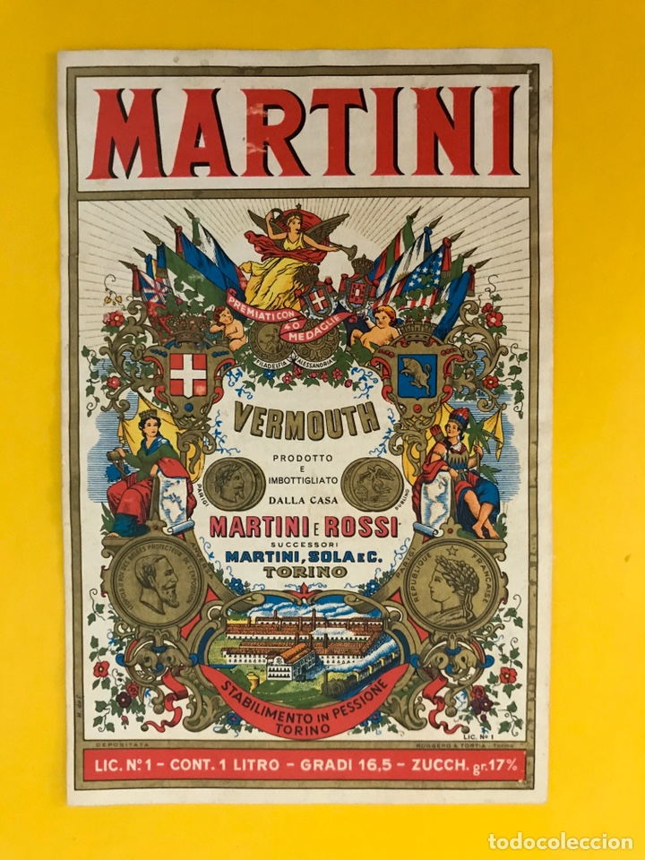MARTINI VERMOUTH, VERDADERA ETIQUETA ORIGINAL DE LA MARCA. MEDIDAS: 16 X 10,50 CM., (H.1950?) (Coleccionismo - Etiquetas)