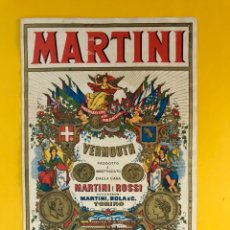 Etiquetas antiguas: MARTINI VERMOUTH, VERDADERA ETIQUETA ORIGINAL DE LA MARCA. MEDIDAS: 16 X 10,50 CM., (H.1950?). Lote 195312272