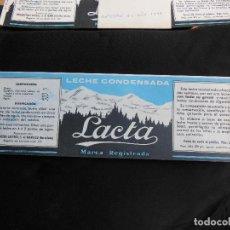 Etiquetas antiguas: ANTIGUA ETIQUETA EN PLANCHA - LECHE CONDENSADA - LACTA , AÑO 1947 - (VER FOTOS).. Lote 195312447