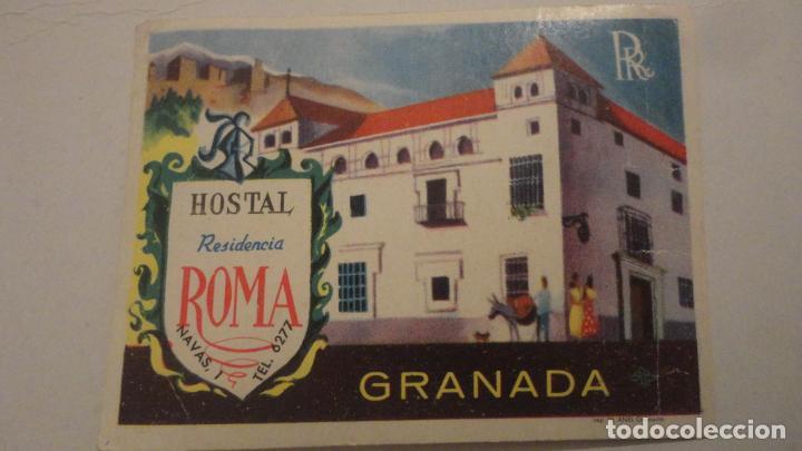 ANTIGUA ETIQUETA.HOSTAL RESIDENCIA ROMA.GRANADA (Coleccionismo - Etiquetas)