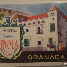 Etiquetas antiguas: ANTIGUA ETIQUETA.HOSTAL RESIDENCIA ROMA.GRANADA. Lote 195332488