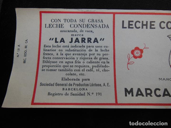 Etiquetas antiguas: Antigua Etiqueta en Plancha - Leche Condensada - La Jarra , años 40 - (Ver Fotos). - Foto 4 - 195311783