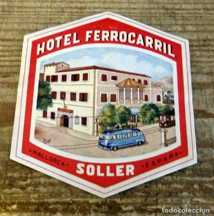 ETIQUETA PARA MALETA DEL HOTEL FERROCARRIL DE SOLLER - MALLORCA (Coleccionismo - Etiquetas)