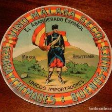Etiquetas antiguas: ETIQUETA DE VINO MÁLAGA SECO. GERADA Y CREMADES. BUENOS AIRES. 27 CM. DE DIÁMETRO.. Lote 195364861