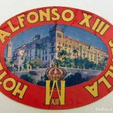Etiquetas antiguas: ETIQUETA HOTEL ALFONSO XIII. SEVILLA. Lote 195377098
