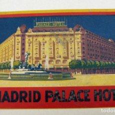 Etiquetas antiguas: ETIQUETA DE MADRID PALACE HOTEL.. Lote 195378342
