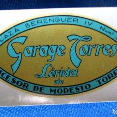 Etiquetas antiguas: ETIQUETA GARAJE TORRES. SUCESOR DE MODESTO TORRES. PLAZA BERENGUER IV, Nº 3. S/F.. Lote 195421896