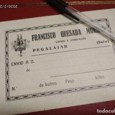 Etiquetas antiguas: VINOS Y CEREALES FRANCISCO QUESADA MORILLO JAEN ETIQUETA DE ENVIO.. Lote 195426187