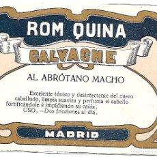 Etiquetas antiguas: ROM QUINA CALVACHE - ANTIGUA ETIQUETA. Lote 195843262