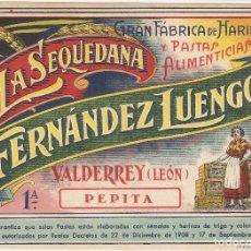 Etiquetas antiguas: VALDERREY (LEÓN) GRAN FÁBRICA DE HARINAS PASTAS DE SÉMOLA Y HARINA DE TRIGO LA SEQUEDANA.. Lote 195956962