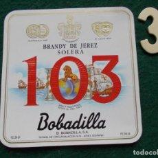 Etiquetas antiguas: ETIQUETA BRANDY SOLERA 103 BOBVADILLA . Lote 196481783