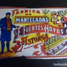 Etiquetas antiguas: ASTORGA LEON ETIQUETA FABRICA DE MANTECADAS E. FUERTES HOYOS 13 X 20 CMTS. Lote 196939352