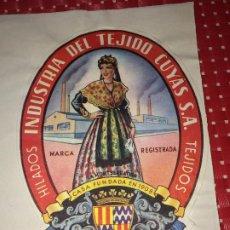 Etiquetas antiguas: INDUSTRIAS DEL TEJIDO CUYAS, S. A. - BARCELONA - ESPAÑA - ETIQUETA - AÑOS 50. Lote 197074590