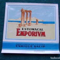 Etiquetas antiguas: ETIQUETA EMPORIUM EMPORIVM JOSE SALIP FIGUERAS ESTOMACAL. Lote 197107518