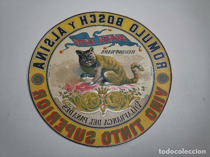 Etiquetas antiguas: ETIQUETA BARRICA VINO TINTO SUPERIOR MARCA GATO ROMULO BOSCH Y ALSINA-VILAFRANCA DEL PANADES- 31 CM - Foto 2 - 197846771