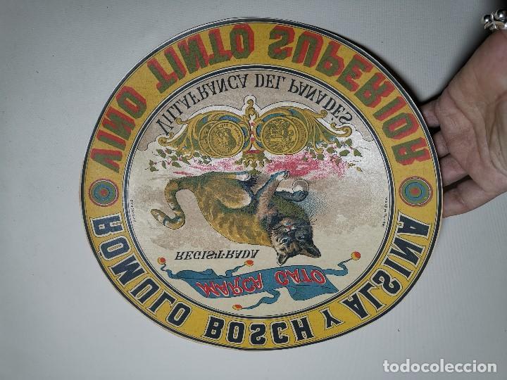 Etiquetas antiguas: ETIQUETA BARRICA VINO TINTO SUPERIOR MARCA GATO ROMULO BOSCH Y ALSINA-VILAFRANCA DEL PANADES- 31 CM - Foto 3 - 197846771