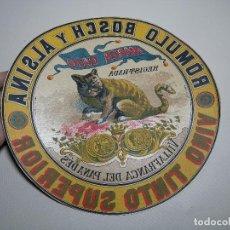Etiquetas antiguas: ETIQUETA BARRICA VINO TINTO SUPERIOR MARCA GATO ROMULO BOSCH Y ALSINA-VILAFRANCA DEL PANADES- 31 CM. Lote 197846771