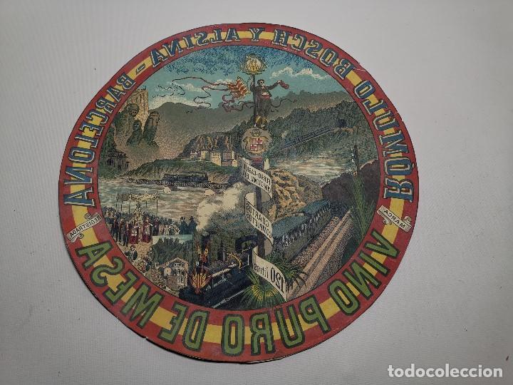 Etiquetas antiguas: ETIQUETA BARRICA VINO PURO DE MESA ROMULO BOSCH Y ALSINA-MONTSERRAT BARCELONA- 32 CM - Foto 2 - 197847266