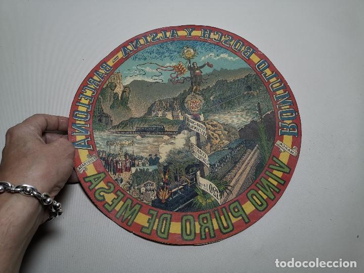 Etiquetas antiguas: ETIQUETA BARRICA VINO PURO DE MESA ROMULO BOSCH Y ALSINA-MONTSERRAT BARCELONA- 32 CM - Foto 3 - 197847266