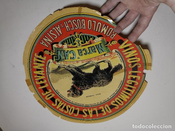 Etiquetas antiguas: ETIQUETA BARRICA VINOS LEGITIMOS COSTA DE LEVANTE-MARCA CAN-ROMULO BOSCH ALSINA- 34 CM - Foto 5 - 197847905