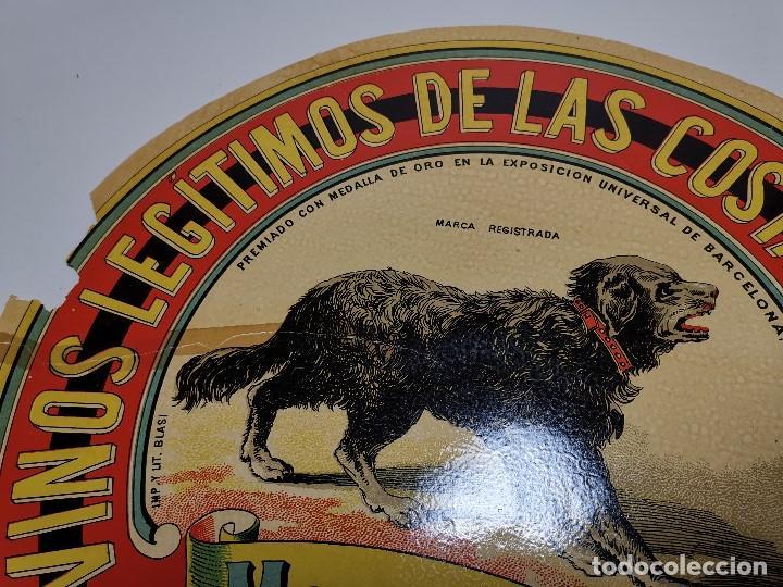 Etiquetas antiguas: ETIQUETA BARRICA VINOS LEGITIMOS COSTA DE LEVANTE-MARCA CAN-ROMULO BOSCH ALSINA- 34 CM - Foto 8 - 197847905
