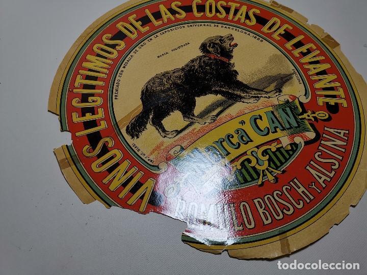 Etiquetas antiguas: ETIQUETA BARRICA VINOS LEGITIMOS COSTA DE LEVANTE-MARCA CAN-ROMULO BOSCH ALSINA- 34 CM - Foto 12 - 197847905