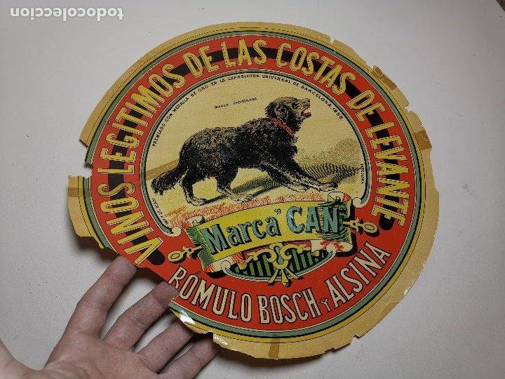 ETIQUETA BARRICA VINOS LEGITIMOS COSTA DE LEVANTE-MARCA CAN-ROMULO BOSCH ALSINA- 34 CM (Coleccionismo - Etiquetas)