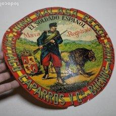 Etiquetas antiguas: ETIQUETA BARRICA VINO MALAGA SECO SOLDADO ESPAÑOL SANTIAGO CAPARROS BUENOS AIRES-- 34 CM. Lote 197848162
