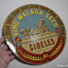 Etiquetas antiguas: ETIQUETA BARRICA VINO MALAGA SECO CIBELES-BALLESTER Y MOLINA-- BUENOS AIRES-- 32 CM. Lote 197848576